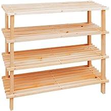 Premier Housewares - Zapatero de tablones de madera (4 repisas, 68 x 74 x 26 cm)