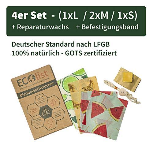 ECOlist Organic Bienenwachstücher für Lebensmittel - deutsche LFGB Zertifizierung, 4-er Set Wachstuch in angesagten Mustern (S, 2 x M, L) + Reparaturwachs + Band, wiederverwendbar, Beeswax wrap -