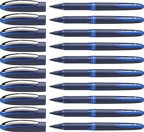 Schneider One Business Tintenroller (Dokumentenecht mit 0,6 mm Strichstärke und Ultra-Smooth-Spitze, Made in Germany) 10er Pack, blau