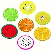 Da.Wa 7X Posavasos de Silicona Cojín para Vasos de Patrón de Rebanadas de Frutas(Multicolor)