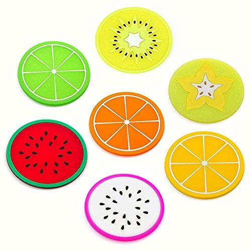Milopon Untersetzer Silikon Coaster Rutschfest Früchte Untersetzer für Bar, Wohnzimmer, Küche Gläser, Becher, Tisch, Bar & Büro Haus Küche Dekor 7pcs(Frucht)