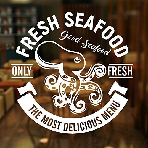 SLQUIET DIY Meeresfrüchte wandaufkleber restaurant thunfisch octopus garnelen markt schaufenster aufkleber küche dekoration wandbild restaurant tapete 57 cm X 57 cm
