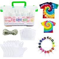 Premify 15 Colors Tie Dye Kit with Gloves and Table Covers - Tie-Dye Textile Colors for Kids Adults Clothes Shirts Bags Dresses Caps Socks Hoodie | Arts & Craft Sets for Party Coloring