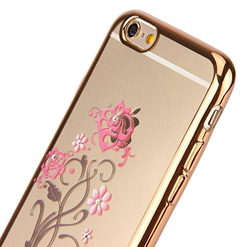 iPhone 6/6S plus 5.5 Custodia,Ukayfe Premium Transparent Dipinto Chiaro Case Cover Bumper Copertina Morbido in Silicone Gel e TPU pelle,Trasparente Ultrasottile 3D Fashion Fiore Paesaggio Case Vernici Oro fiore 4#