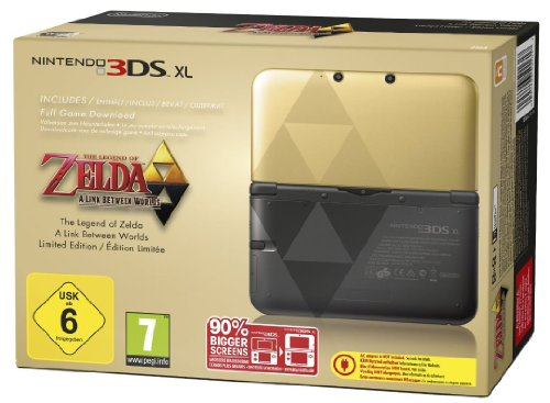 Nintendo 3DS XL - Konsole Gold/Schwarz Zelda-Bundle (Limited Edition) (Mask Majoras Xl 3ds Nintendo New)