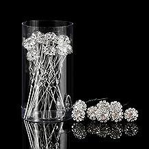 Horquilla de Pelo de Cristal Clip de Pelo en Forma de U de Flor de Diamante