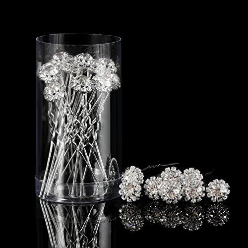 Horquilla de Pelo de Cristal Clip de Pelo en Forma de U de Flor de Diamante de Imitación Accesorios de Clip de Pelo de Novia Boda, 20 Piezas