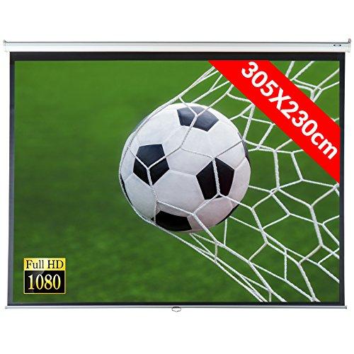 Jago Beamer Leinwand (Größenwahl) Heimkino 305x230cm (382cm Bilddiagonale / 150Zoll) HDTV/3D tauglich