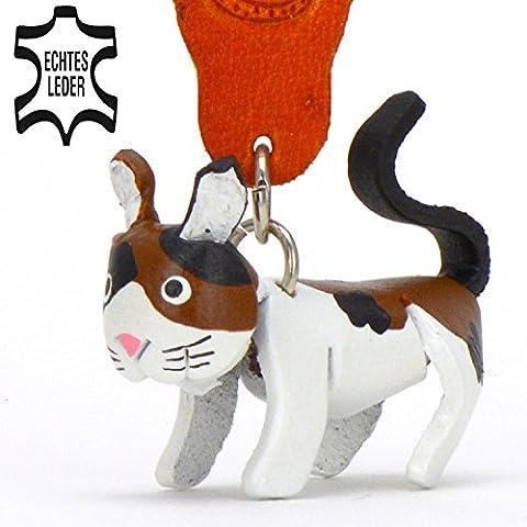 Katze Felix - Schlüsselanhänger Figur aus Leder in der Kategorie Kuscheltier / Stofftier / Plüschtier von Monkimau in schwarz weiß braun schwarz - Dein bester Freund. Immer dabei! - 5x2x4cm LxBxH klein, jeweils 1 Stück