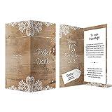 20 x Hochzeit Dankeskarten Danksagungskarten Danke DIN Lang Klappkarte - Rustikal mit weißer Spitze