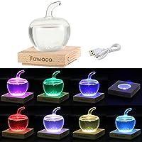 Pawaca Storm Glass, Apple Storm Glass Crafts Previsión meteorológica Botella Botella barómetro con 7 colores Led inferior, Decoración del hogar, Regalo de Navidad