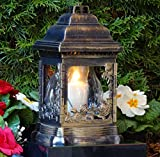 ♥ Grablampe Grablaterne Rosen Kathedrale 26,0cm incl.Grabkerze Grabschmuck Herz Grableuchte Grablicht Friedhof Garten Kerze Licht Blumen