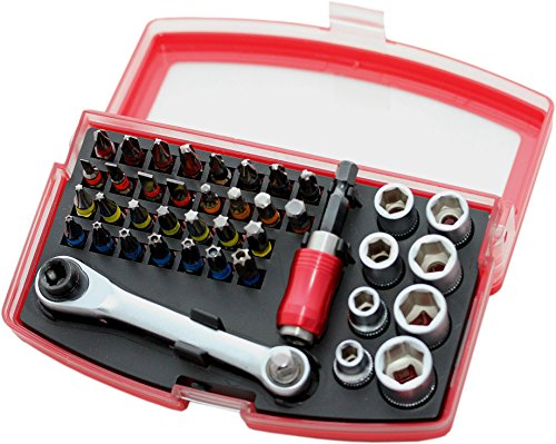 Bit und Steckschlüsselsatz 1/4 Zoll, S2-Stahl 42-teilig, 30 x 25 mm Bits S2, 8 Steckschlüsseleinsätze 1/4 Zoll CrV, 1 Ratsche, 1 Magnet-Bithalter, 2 Adapter, 069