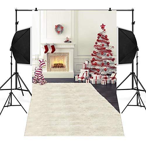 TPulling 3D-Studio-Hintergrund Tuch, Weihnachten Fotostudio Backdrops Vinyl 5 x 3FT Kamin Hintergrund Fotografie Studio 100% Musselin Hintergrund Stoff Fotografie-Hintergrund (A)