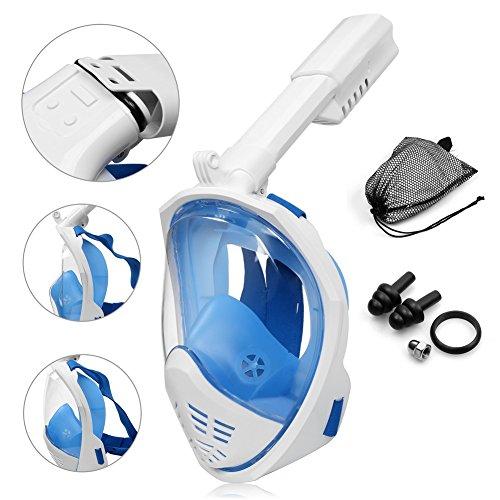 UGI Plegable 180 ° Wide View Redondo Cara Completa Máscara Easy-breath Snorkel Máscara Antifugas y Antivaho Compatible con Cámara de Acción (Azul L/XL)