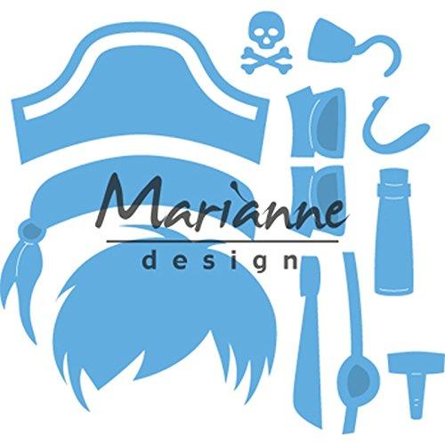 Piraten Einzigartiges Kostüm - Marianne Design Creatables Präge-und Stanzschablone, Kims Kumpels Pirat, für Handwerksprojekte, Metall, hellblau, 7,9 x 8,2 cm
