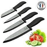 ChefsDeFrance - Set de 4 Couteaux Céramique - Édition Prestige Couteaux Haut de Gamme + 1 Livre de Cuisine Offert - Couteau de Chef