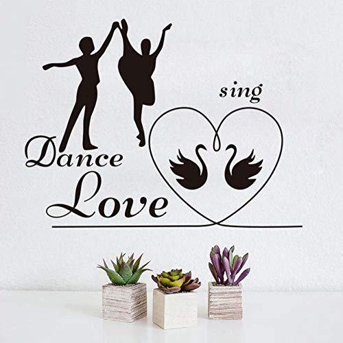 Wohnzimmer wandaufkleber liebe tanz singen liebe schlafzimmer wandaufkleber romantische dekoration schwan muster kinder wandtattoo poster 58X44 CM