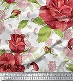 Soimoi Weiß Seide Stoff Blätter & Rose Blumen- Stoff