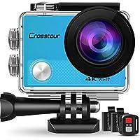 Crosstour Caméra Sport 4K Ultra HD Wi-Fi 16 MP avec Télécommande Appareil Photo Caméscope Étanche 30M 170 °Grand-angle avec 2 pouces LCD 2 Batteries Rechargeables 1050mAh et 18 Accessoires CT9000 (Bleu)