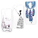 MAXFE.CO 3X Coque ASUS Zenfone 3 Max ZC520TL (5.2 Pouces) Housse Etui de Protection Silicone Souple Dessin Original Motif TPU Gel Ultra Fine Case Cover - Tour de Vélo+Dream Catcher+Fée de Papillon