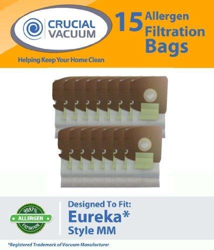 18Eureka Stil mm Mighty Milben & Sanitaire Allergen Filtration Staubsaugerbeutel, vergleichen um Eureka Teil # 60295, Autstyle 60296, 60297, entworfen und hergestellt von Crucial Vacuum (Eureka Staubsauger Mit Beutel)