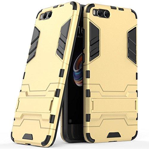 Funda para Xiaomi Mi Note 3 (5,5 Pulgadas) 2 en 1 Híbrida Rugged Armor Case Choque Absorción Protección Dual Layer Bumper Carcasa con pata de Cabra (Dorado)