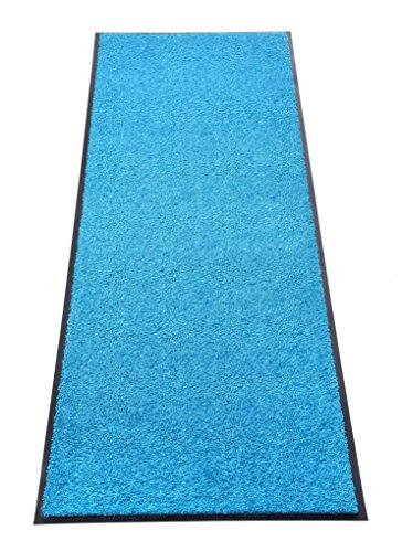 Premium Fußmatte Schmutzfangmatte SANSIBAR ✓ Extrem strapazierfähig ✓ Außen & Innen ✓ Waschbar ✓ PVC-frei – Sauberlaufmatte Haustür Schmutzmatte Türmatte Design Türvorleger – Eingangsmatte Schmutzfangteppich Schmutzfänger Außenbereich (Sansibar 60x120 cm, blau)