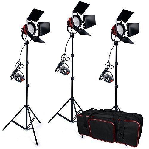 800 W *3 Fotografie Halogen Videolicht Studioset Filmleuchte Videoleuchte Set Redhead Dauerlicht Set inkl. Stative Dimmer Abschirmklappe set und Tasche