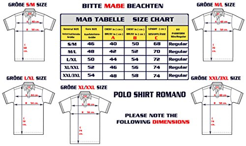 M.Conte Herren Poloshirt Basic Men's Kurzarm Polohemd T-Shirt Polo-Shirt Pique Grau-Melange