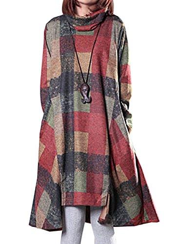 Ammy Fashion Women's Turtle Neck Checkerd Irregular Jersey Jumper Dress