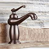 Spülbecken Wasserhahn Antiken Wasserhahn Hot & Cold Wasserhahn Messing Bad Wasserhahn, Braun Gebürstetem Nickel