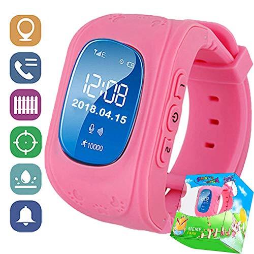 ZZASS GPS Tracker Smart Uhr für Jungen Mädchen Geburtstag Halloween mit Schrittzähler Fitness Tracker SIM Kartensteckplatz Anti-verlorene SOS Handgelenk Armband für iOS Android (Rosa)
