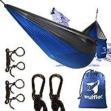Wulfler Ultraleichte Outdoor Hängematte | Fallschirm Nylon | 200 kg Traglast | inklusive Befestigung 2X Karabiner und 2X Seile | ideal für Reise Strand Trekking Camping Hammock (blau/grau)
