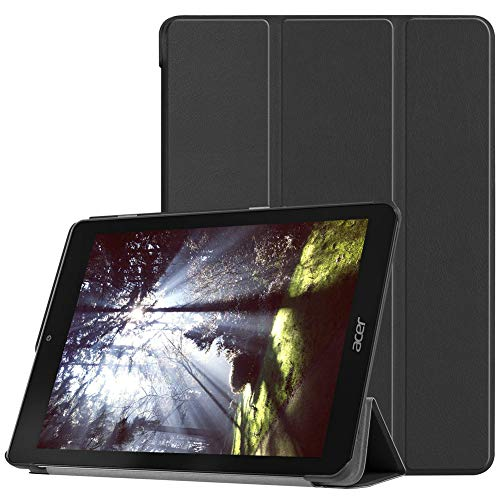 Kepuch Custer Acer Chromebook Tab 10 Hülle - Shell Schutzhülle PU Tasche Smart Case Cover für Acer Chromebook Tab 10 - Schwarz