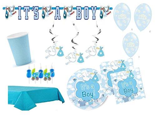 Partydekoset Babyparty Baby Shower Junge blau für 16 Personen 68 teilig Pullerparty Baby Geburt Babyparty Komplettset Tischdeko Party Geschirr