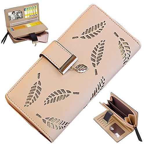Bonice borsa del portafoglio da donna con la chiusura lampo in pelle PU multifunzione [Grande capacità] Card Slots Case Cover per iPhone 8/8 Plus/iPhone X, iPhone7/7 Plus/6S/6S Plus/6/6 Plus/5/5S/5C/S Modello 19