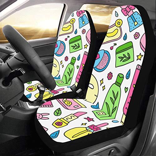 Rtosd Mädchen Make Up Schöne Benutzerdefinierte Neue Universal Fit Auto Drive Autositzbezüge Schutz Für Frauen Automobil Jeep LKW SUV Fahrzeug Full Set Zubehör Für Erwachsene Baby (Set Von 2 Vorne) (Bunny Make-up Einfach)