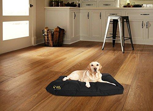 Dog Doza Waterproof PU Coated Dog Bed with Cushion, Black 3