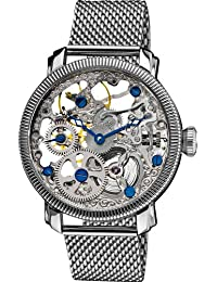 amazon co uk akribos xxiv watches akribos xxiv men s bravura mechanical watch silver dial analogue display and silver stainless steel