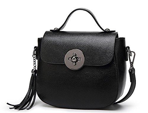 Xinmaoyuan Borse donna in pelle borsa Messenger Ladies Ladies Bag Borsa a tracolla Borsa Fiocco di colore solido borsetta con chiusura lampo,Balck Nero