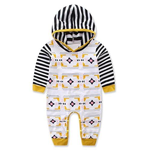 Longra Neugeborenes Baby Mädchen Jungen Kapuzenpullover Strampler Set Babymode Unisex Geometrie Druck mit Kapuzen Overall Langarm Body Baby Schlafstrampler(0 -24 Monate) (70CM 6Monate, White)