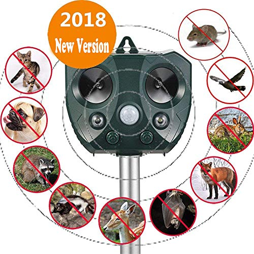 Sumeber Solar Katzenschreck Tiervertreiber Ultraschall Wetterfest mit Batteriebetrieben und Blitz | Tierabwehr Hundeschreck und Marderschreck | Waschbärvertreiber Version 2018