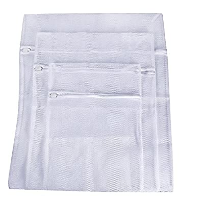 Laundry Bags, Zippered Mesh Washing Bags, Set of 3 (Big Mesh, White)