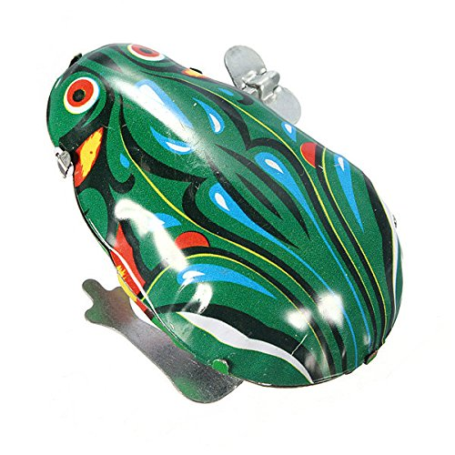 Bazaar Weinlese-Metall Wind-up-Jumping Frog Clockwork Zinn Spielzeug Klassische Geschenk - Zinn Wind-up Spielzeug