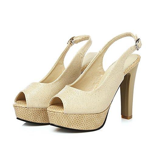 AllhqFashion Damen Hoher Absatz Weiches Material Rein Schnalle Fischkopf Schuhe Sandalen Mit Hohem Absatz Golden