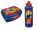 Feuerwehrmann Sam 2 tlg. Brotdose Pausenbrot Lunchbox + Trinkflasche fireman (1)