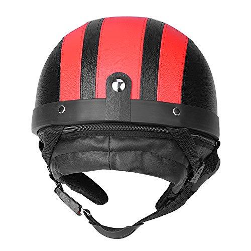 Qiilu Universale Motociclo Casco Aperto del Fronte Mezzo Cuoio con Visiera UV Occhiali di Protezione Retro Vintage (Red)