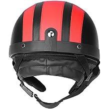 e3aceb086b9 Qiilu Universal Motocicleta Casco de la cara abierta y Gafas de visera UV Cuero  sintético(