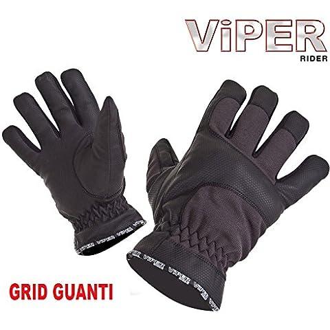 Guanti Moto : VIPER GRID Guanto Moto Scooter Comfort Tessile Guanti impermeabili (XL)